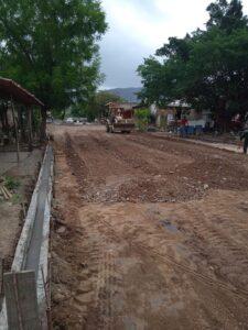 Empedrado en las calles de la localidad de La Cuata